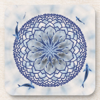 Blue Koi Lotus Mandala Square Cork Coasters