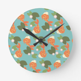 Blue Koi Pond Round Clock