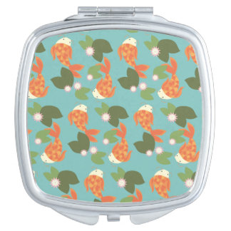 Blue Koi Pond Travel Mirror