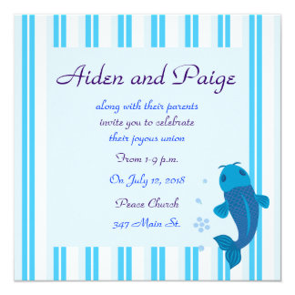 Blue Koi Striped Wedding Invitations