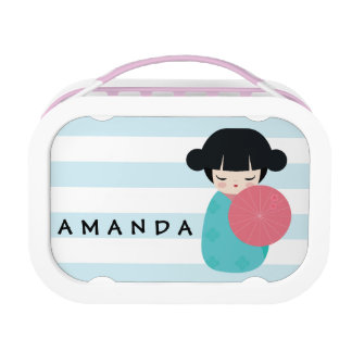 BLUE Kokeshi Doll - Cute Japanese Geisha Girl Lunchboxes
