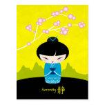 Blue kokeshi postcard