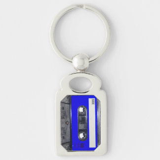 Blue Label Cassette Silver-Colored Rectangle Keychain