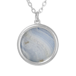 Blue Lace Agate Swirl cool nature stone Silver Plated Necklace