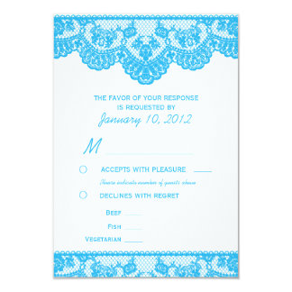 "Blue Lace and White RSVP with Meal Options 3.5"" X 5"" Invitation Card"
