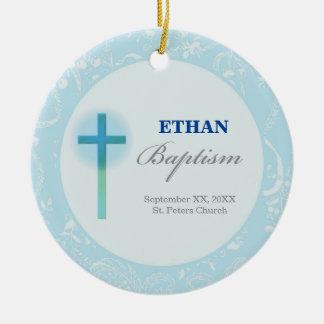 Blue Lace Boy Baptism Ceramic Ornament
