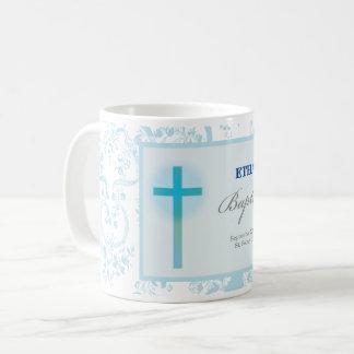 Blue Lace Boy Baptism Coffee Mug
