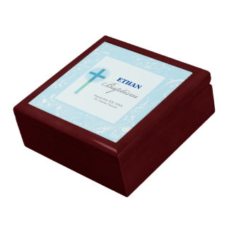Blue Lace Boy Baptism Gift Box