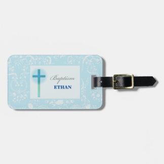 Blue Lace Boy Baptism Luggage Tag