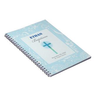 Blue Lace Boy Baptism Notebook