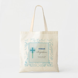 Blue Lace Boy Baptism Tote Bag