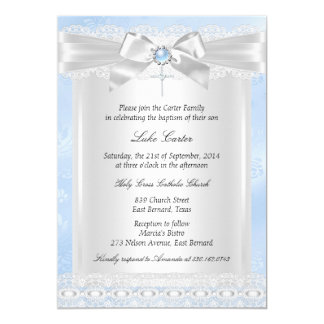 "Blue Lace Cross Baptism Christening 5"" X 7"" Invitation Card"