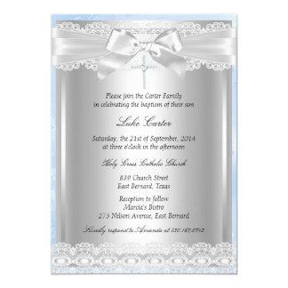 Blue Lace & Cross Baptism/Christening Invitation