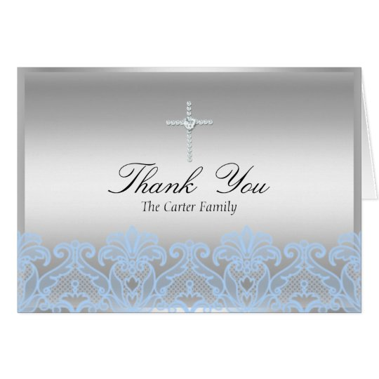 Blue Lace & Cross Baptism Thank You Card
