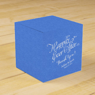Blue Lace Happily Ever After Personalized Wedding Favor Box