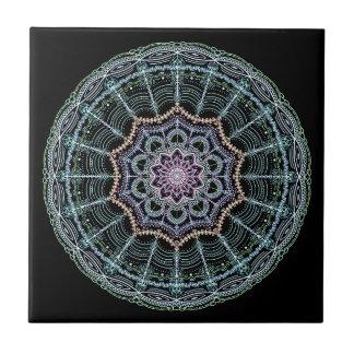 Blue Lace Mandala Neon Kaleidoscope Black Colorful Tile