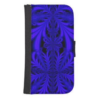 Blue Lace Pattern Samsung S4 Wallet Case