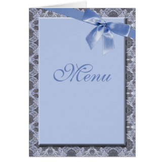 Blue Lace & Ribbon -  Wedding Menu Cards