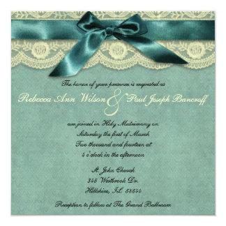Blue Lace Vintage Wedding Invitation
