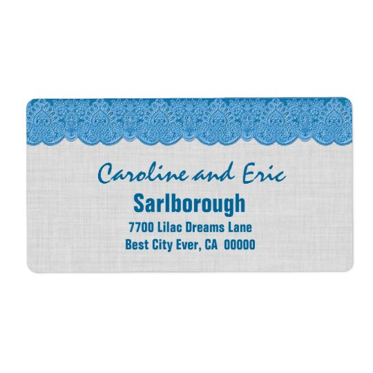 Blue Lace with SILVER Linen Texture A301Q Shipping Label