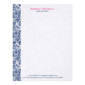 Blue Lace With White Damasks Letterhead Template