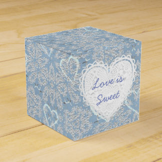 Blue Lacey Hearts You Cupcake Box Favor Box