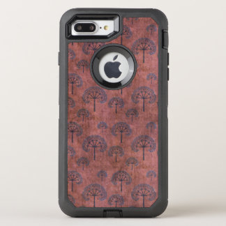 Blue Lacy Trees on Grunge Red OtterBox Defender iPhone 7 Plus Case
