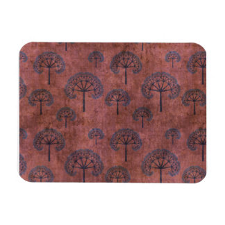 Blue Lacy Trees on Grunge Red Rectangular Photo Magnet