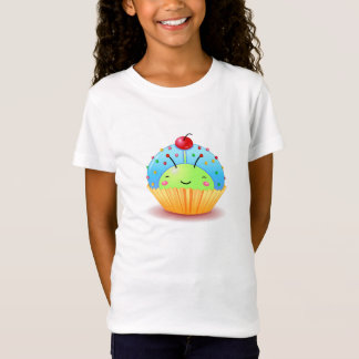 Blue Ladybug Cupcake Girls Baby Doll Shirt
