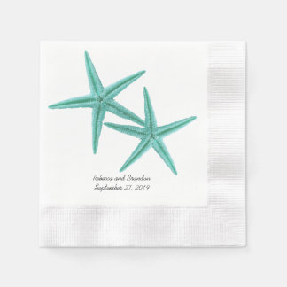 Blue Lagoon Starfish Couple Wedding Napkins Paper Napkins