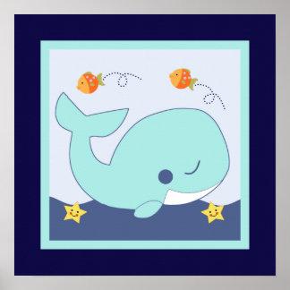 Blue Lagoon/Whale/Fish/ Seahorse Poster Wall Art