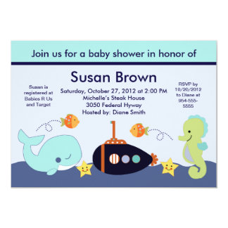 Blue Lagoon/Whale/Sealife Baby Shower Invitation