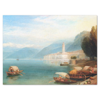 Blue Lake Como Italy White Town Boats Tissue Paper