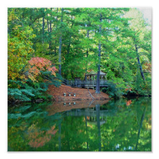 Blue Lake Early Autumn Poster