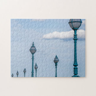 Blue lampposts photo puzzle