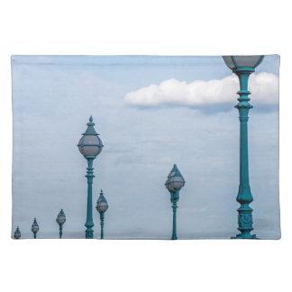 Blue lampposts placemat