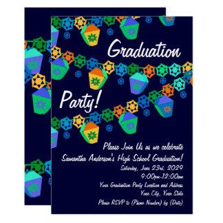 Blue Lanterns Luau Graduation Party Invitation