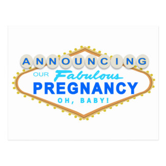 Blue Las Vegas Pregnancy Announcement Postcard
