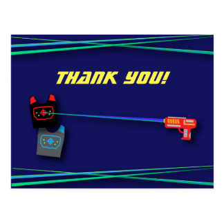 Blue Laser Tag Birthday Party Thank You Postcard