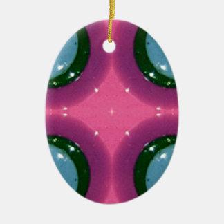 Blue Lavender Magenta Shiny Ceramics Photography Ceramic Oval Ornament