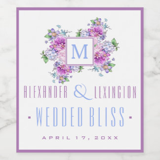 Blue Lavender Watercolor Flowers Monogram Wedding Wine Label