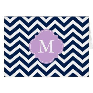 Blue & Lavender Zigzags Pattern Monogram Card