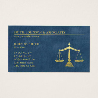Blue Lawyer Scales of Justice Law Firm Appointment Business Card