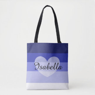 Blue Layers Personalized Name Tote Bag