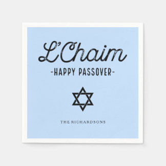 Blue L'Chaim Happy Passover in Trendy Typography Paper Napkin