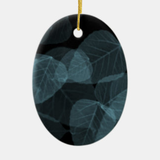 Blue Leaf X-Ray.png Ceramic Oval Ornament