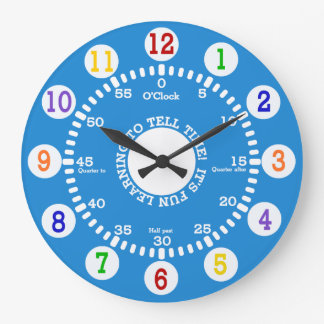 Blue Learning to Tell Time Wall Clock