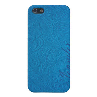 Blue Leather-Embossed Floral Design Case For The iPhone 5