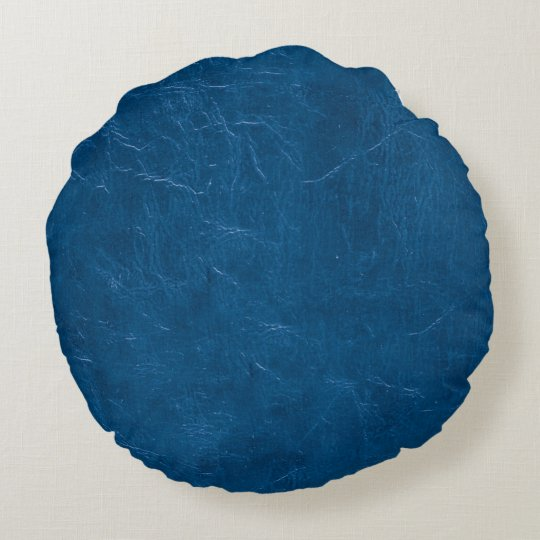 Blue leather look round pillow
