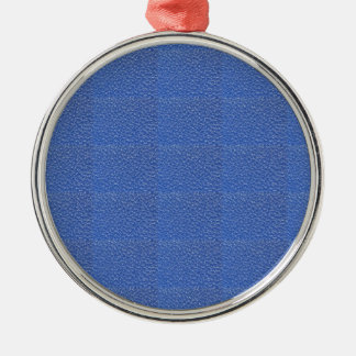 Blue Leather look texture background add text img Silver-Colored Round Ornament